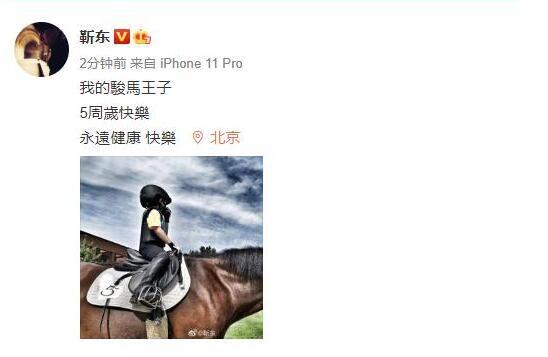靳东为儿子庆生 我的骏马王子5周岁快乐
