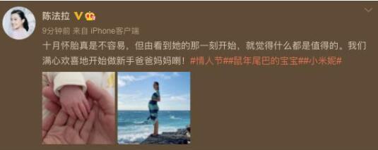 陈法拉宣布生女 微博晒出一家三口牵手照
