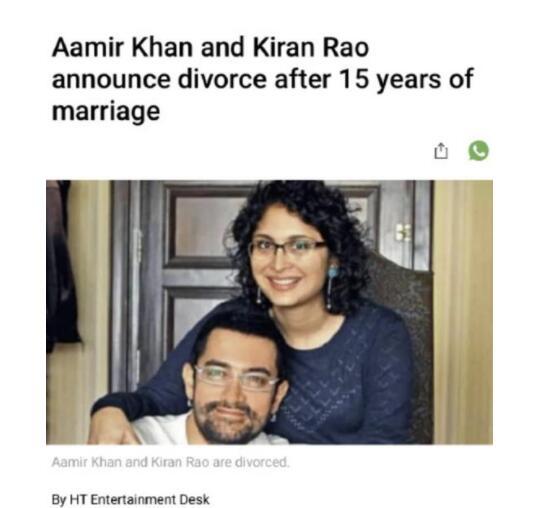 阿米尔汗和妻子发联合声明宣布离婚
